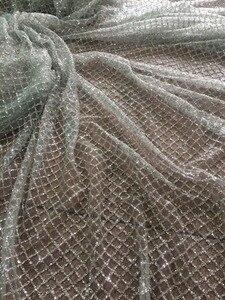 Image 1 - Encaje de tul francés con purpurina encolada plateada, LJY 42611, encaje francés africano a la moda con purpurina