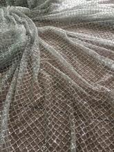 Gümüş yapıştırılmış glitter Fransız Tül Dantel LJY 42611 Fashian Afrika Fransız Dantel glitter Ile