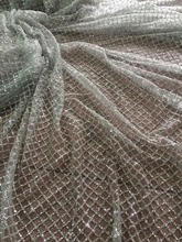 silver glued glitter French Tulle Lace LJY 42611 Fashian African French Lace With glitter