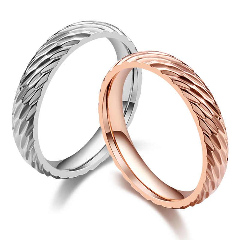 คุณภาพสูงไทเทเนี่ยมแหวนสำหรับสตรีและผู้ชายคนรักแฟชั่นเรขาคณิตเครื่องประดับ Silver/Rose Gold สีคู่แหวน