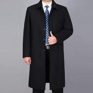Image 2 - Mu Yuan Yang Men Winter Jacket Wool British Style Longer Section Woolen Men Jackets Outerwear Warm Single Breasted Wool & Blends