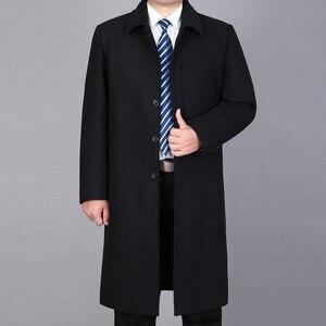 Image 2 - Mu Yuan Yang hommes veste dhiver laine Style britannique plus longue Section laine hommes veste matelassée chaud simple boutonnage laine et mélanges