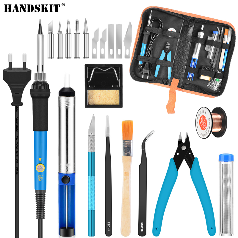 Handskit Soldering Iron kit 220V 60W Adjustable Temperature Electric Soldering Iron 5pcs Tips Desoldering Pump Solder Wire цена