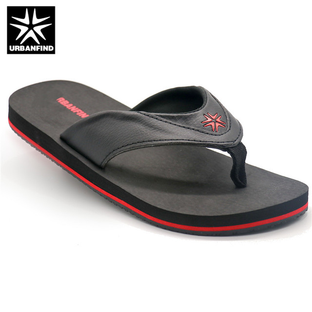 535a1aabb URBANFIND Men Fashion Flip Flops Indoor   Outside Footwear Size 41-46  Patchwork Design Man Summer Leather Slippers
