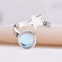 KOFSAC 2019 Hot Sale Thai Silver Rings For Girl Jewelry Open Size Crystal Round Pentagram Star Ring Women Party Accessories