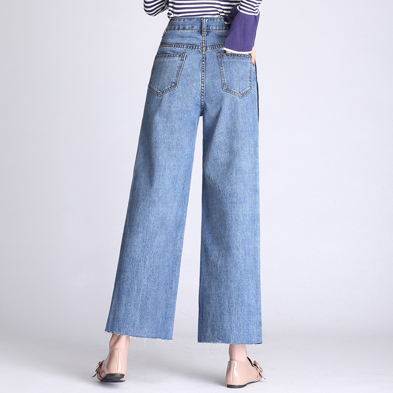 c2d1ef5401a LXUNYI Plus Size Light Blue Woman Loose Wide leg Jeans Pants 2019 High  Waisted jeans Ladies Irregular Casual Ankle Length Pants-in Jeans from  Women s ...