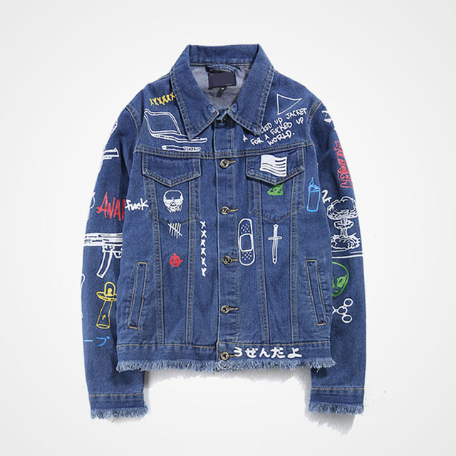Aolamegs Men Denim Jacket Men's Graffiti Hip Hop Cowboy Jackets Fashion Male Jacket Turn-down Collar Cotton Outwear Ripped 2017 3