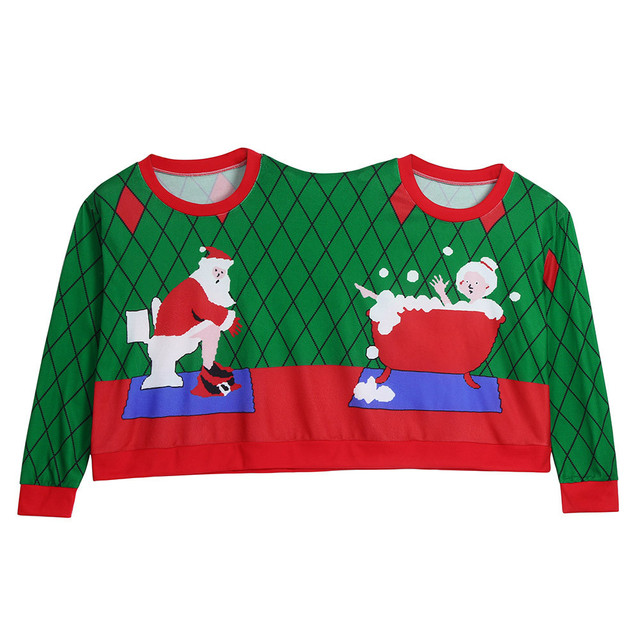 Two Person Long Sleeve Winter Sweatshirt Unisex Couples Pullover Novelty Christmas Blouse O Neck clothes sudaderas para mujer 3