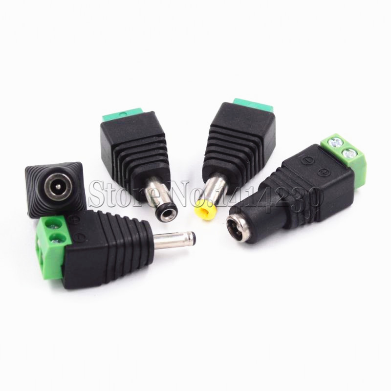 DC Power Plug Male 2.1mm x 5.5mm to Screw Terminal CCTV Camera Connector Adapter