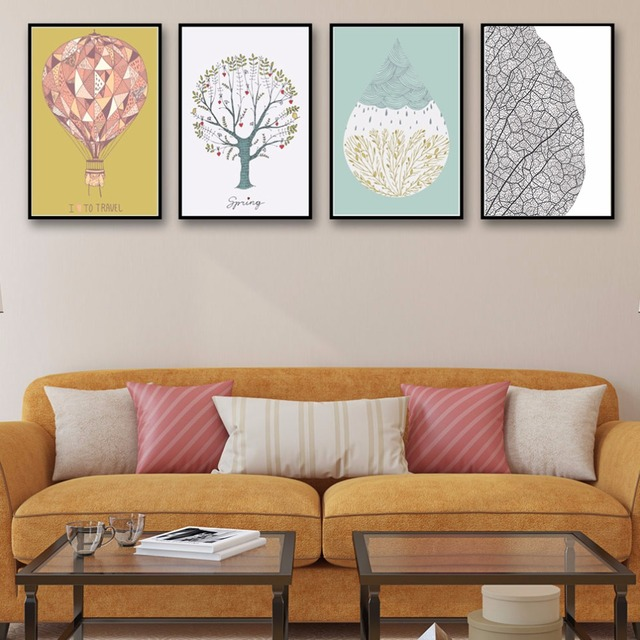 Water Droplets Balloon And Tree Art Canvas Poster Modern Minimalist Living Room Wall Decor Painting No Frame