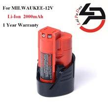 Novo e de Li-ion para Milwaukee: e de Alta Alta Qualidade Substituição DA Bateria Ferramenta de Poder 12 V 2000 Mah M12 C12 BX B 48-11-2401