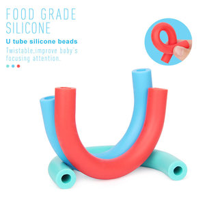 Image 4 - Teether de silicona de tubo de 20 piezas en U cuentas para manualidades hechas a mano para bebé chupete colgante de dentición