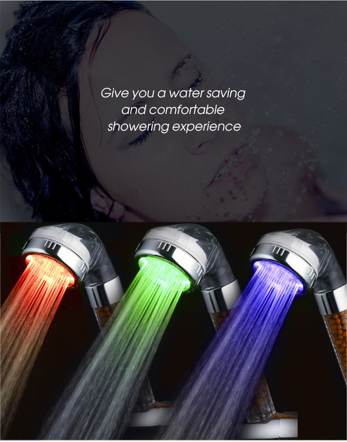 3 Colors LED Changing Shower Head Temperature Sensing Hand held ...