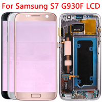 Original G930 LCD For Samsung Galaxy S7 LCD Display Touch Screen Frame Digitizer For Samsung G930 G930F LCD With Red Shadows