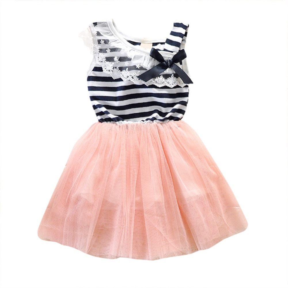Summer New Fashion Cute Dress 2-6Y Kids Girls Stripe Lace Tutu Dress Brace Bowknot Ruffle Tulle Baby One-piece Dresses