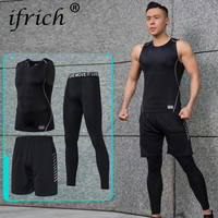 Compression Quick Dry Tight Tracksuit Mens Fitness 3 Pieces Sleeveless Black T Shirt Pant Suit Male O neck Clothing Set for Men