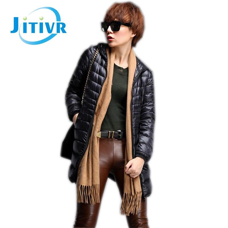ФОТО Jitivr 2016 Hot Sale Stylish Women's Newest Slim Long Cotton Padded Coat Female Faddish Hooded Down Winter Warm Jacket 6 Color