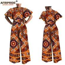 2019 spring&autumn africa clothing for women AFRIPRIDE tailor made butterfly sleeve ankle length wid leg jumpsuit A1829009