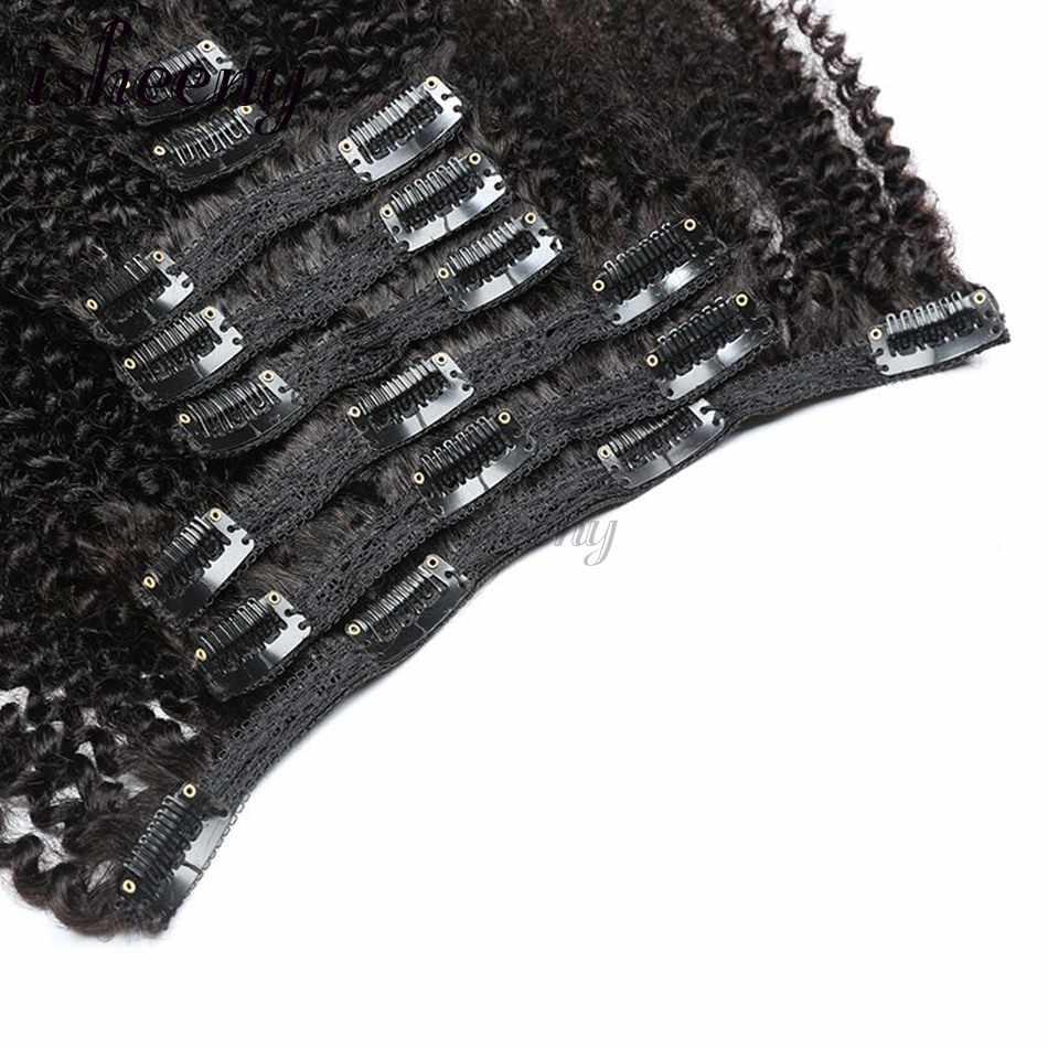 """Isheeny 8 stks/set Afro Kinky Krullend Wave Menselijk Haar Clip In Hair Extensions 12 """"-20"""" Natuurlijke Kleur 120g Remy Haar"""