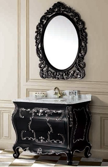 Hot European Style Solid Wood Antique Black Bathroom Vanity Cabinet With Silver Stain In Vanities From Home Improvement On Aliexpress