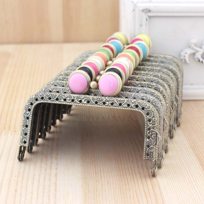 10pcs 85cm retro bronze coining purse frame candy flat bead kiss clasp coin purse metal