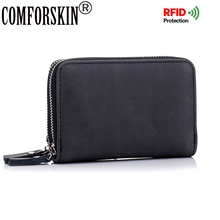 COMFORSKIN New Arrival Unisex Credit Card Holders Latest Split Leather Rfid Multi-function Wallets Case Holder 2017 Hot