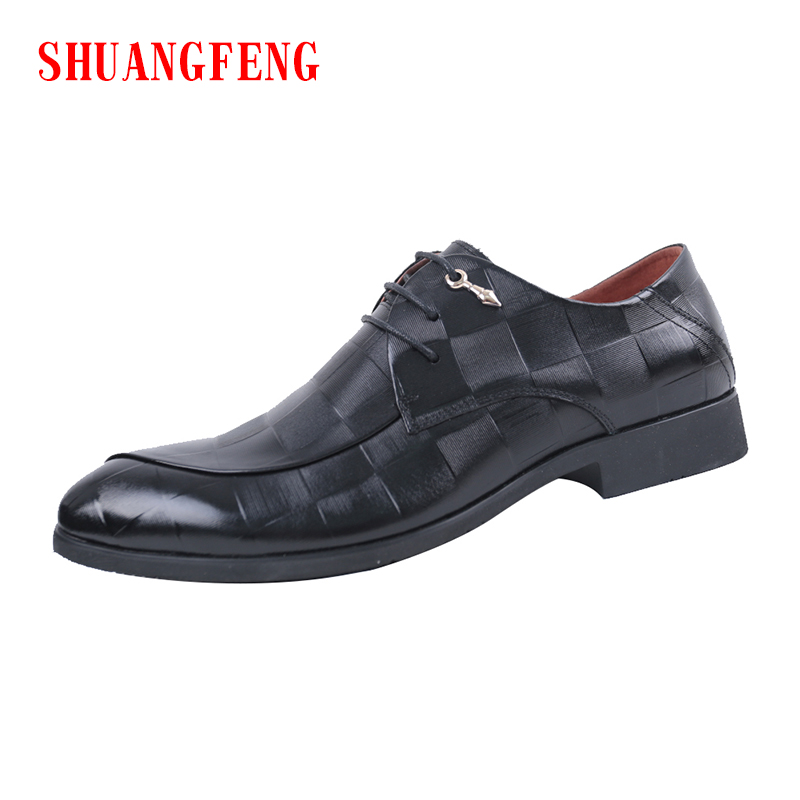 SHUANGFENG New Men's Dress Shoes 2018 Black Classic Fashion Breathable Formal Wedding Shoes Genuine Leather Man Shoes Footwear цена