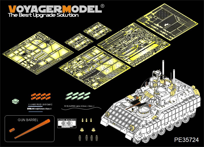 Voyager PE35724Modern US Army M3A3 BRADLEY w/BUSK III IFV Basic (Gun barrel ,smoke discharger include) (For MENG SS-006) meng ss 006 m3a3 bradley busk iii splicing model cavalry armored infantry fighting vehicles