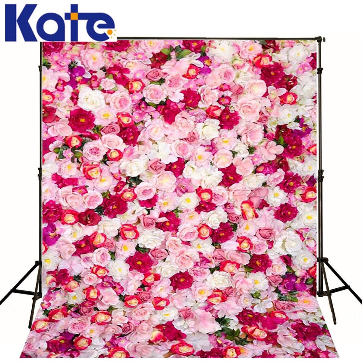 Kate 10x10ft toile de fond Floral nouveau-né photographie fond rose fleur mur Photo pour séance de mariage