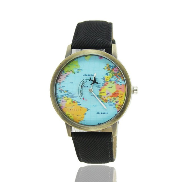 World Maps Airplane Pattern Canvas Straps Watchband Fashionable Design Quartz Mo