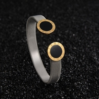 New Brand Roman Numeral Clasp Open Cuff Mesh Bangle Stainless Steel Bracelets Adjustable For Women Lady