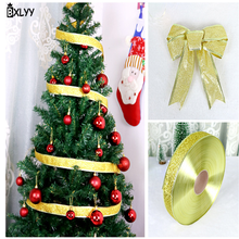 BXLYY Christmas Tree Decoration 5 Meter DIY Bow Ribbon Wedding Party Decoration Gift New Year Christmas Decorations for Home.7z