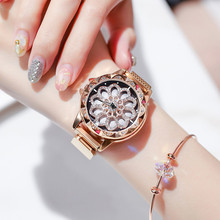 New Luxury Female Watch Magnet Stainless Steel Mesh Strap Women Quartz Watches Rotating dial Starry Sky Dial Ladies Wristwatches luxury fashion gold women quartz watches top brand small dial female bracelet watch stainless steel mesh strap ladies writwatch