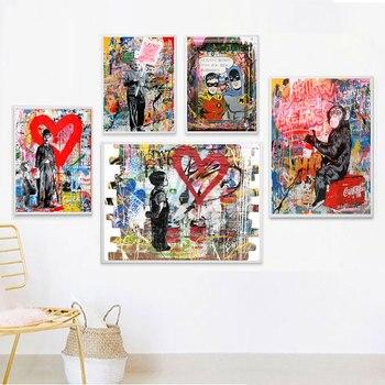 Pared de Graffiti arte lienzo póster de Banksy nórdico cuadro decorativo Decoración Para sala de estar de Metal negro orgánico Marco de vidrio