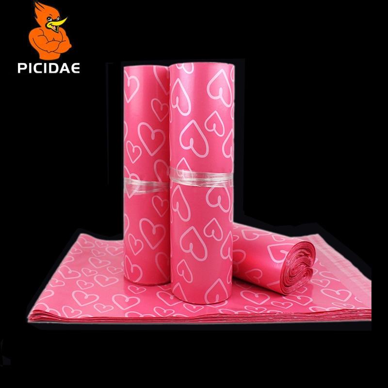 Poly poster rosa hjärtformade färgpostkuvert postväskor - Hemlagring och organisation