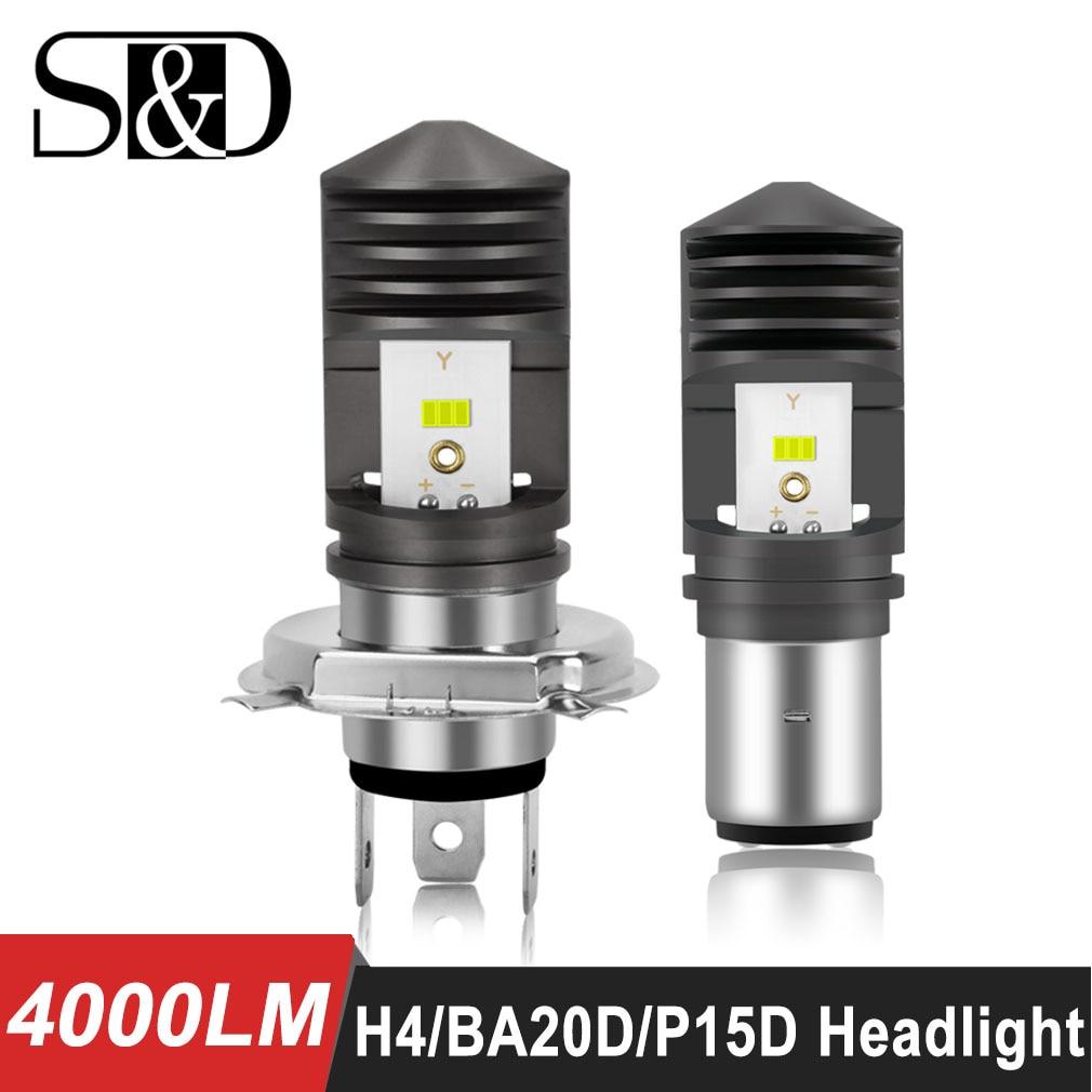 4000LM BA20D LED H6 P15D HS1 H4 Led Motorcycle Headlight Bulbs CSP Chips Motorbike Hi/lo Far Light Moto Headlamp Ebike Car Light
