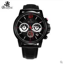 Three sport chronograph fashion watch Beautylok men's watch Swiss movement fashion leather quartz watch calendar male table