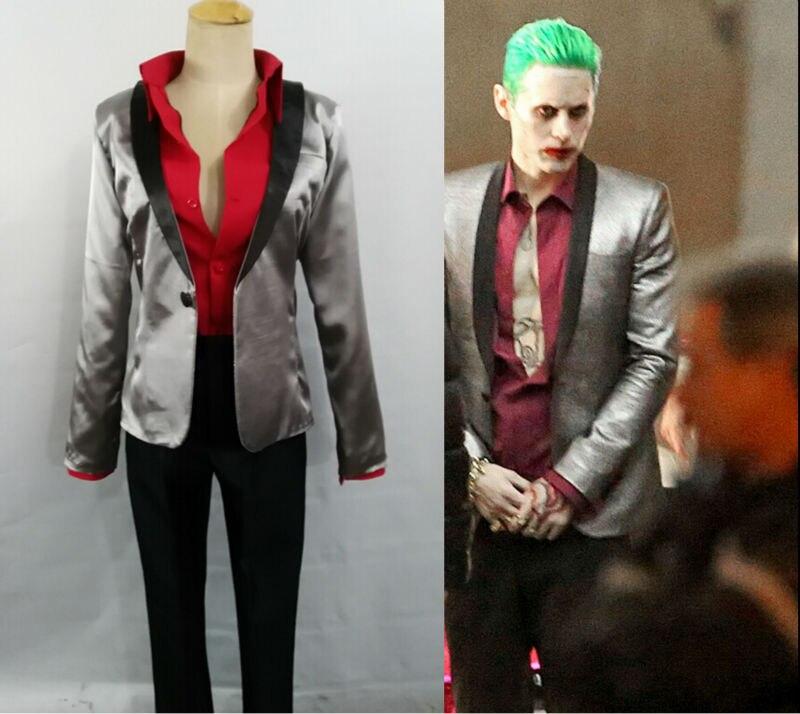 Men Suicide Squad Joker Costume Cosplay Suit Silver Coat Psychos Killers Jacket New