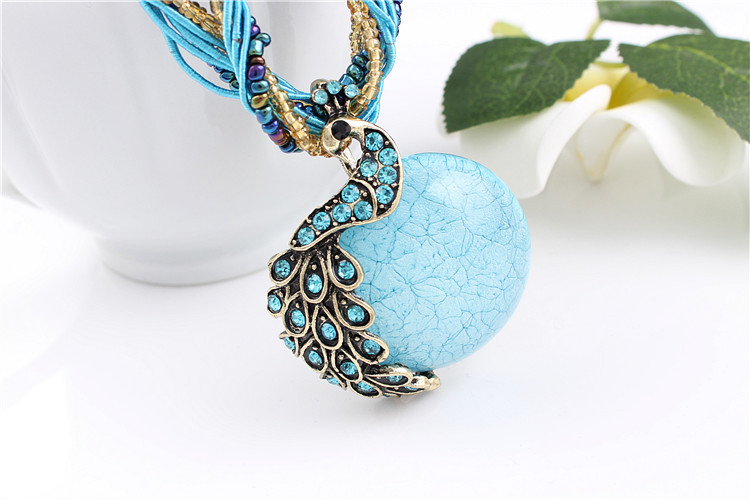 ZOSHI Blue natural crystal stone pendant necklace fashion peacock pendant necklace for women jewelry 14