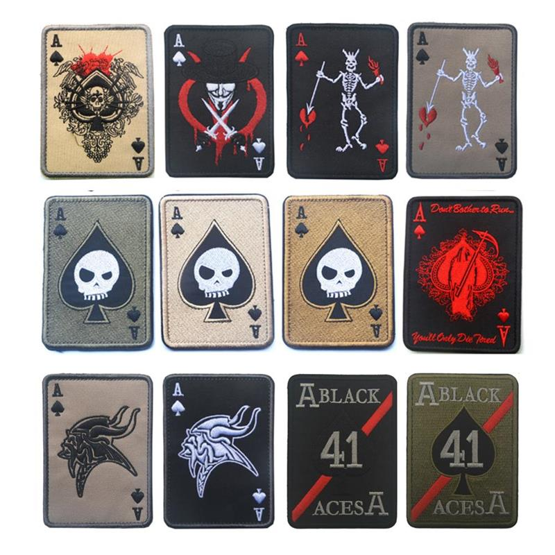 Death Card Ace Of Spades A Poker Embroidery Patch Armband