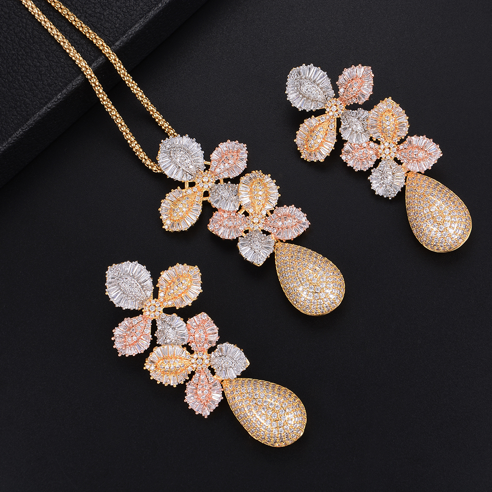 GODKI 71mmLuxury Leaf Flower Water Drop Women Wedding Cubic Zirconia Choker Necklace Earring Dubai Jewelry Set