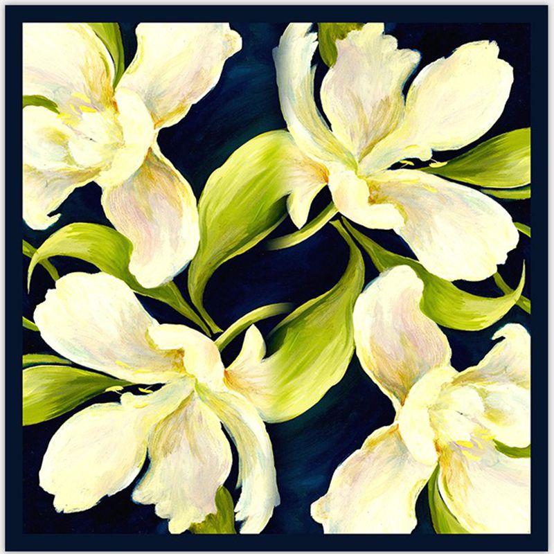 Lenço de Seda Quadrado para Mulheres Lenços de Seda Xaile para ol Acessório do Vestuário Incrível Padrão Floral Sarja 100% Wraps 90×90 cm