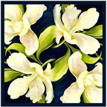90x90cm Amazing Floral Pattern 100% Silk Twill Scarf Women's