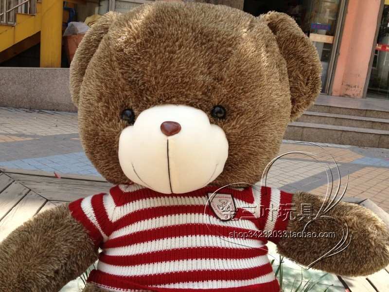 ФОТО lovely huge bear toy plushed toy stuffed bear toy teddy bear birthday red and white clothes bear about 110cm