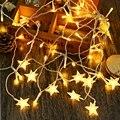 Navidad de Luz LED de la CA 110-220 V 4 M Droop 0.6 M Estrella Cadena Carámbano Cortina de Hadas de Luz Decorativa lámpara de 3 Colores