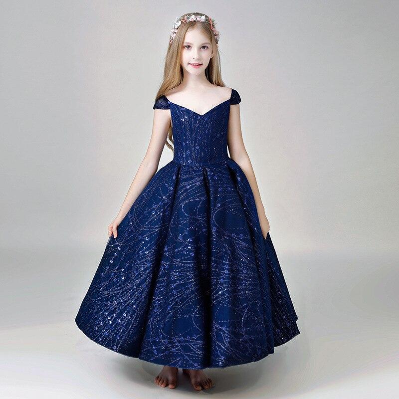 Robe princesse royale profonde col en v sainte Communion robe Bling filles robe formelle longueur de plancher robe de bal robes de demoiselle d'honneur B447
