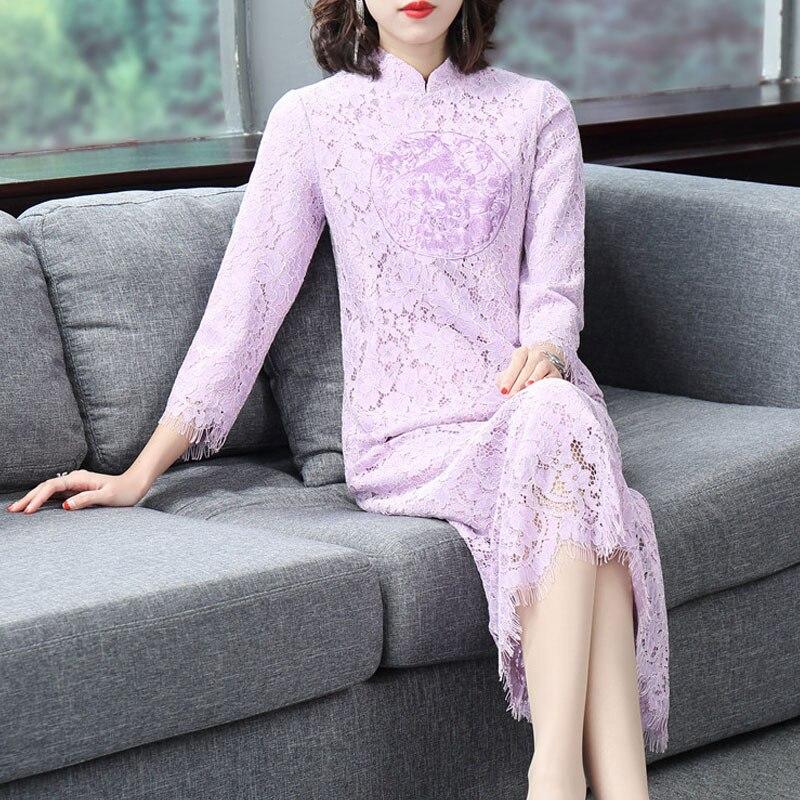 Allover Femmes Midi Robes Automne Qualité Broderie 2018 Plus Nouvelle Top Élégant Taille Hiver Partie De En Dentelle Festa Robe QCBxsrhtd
