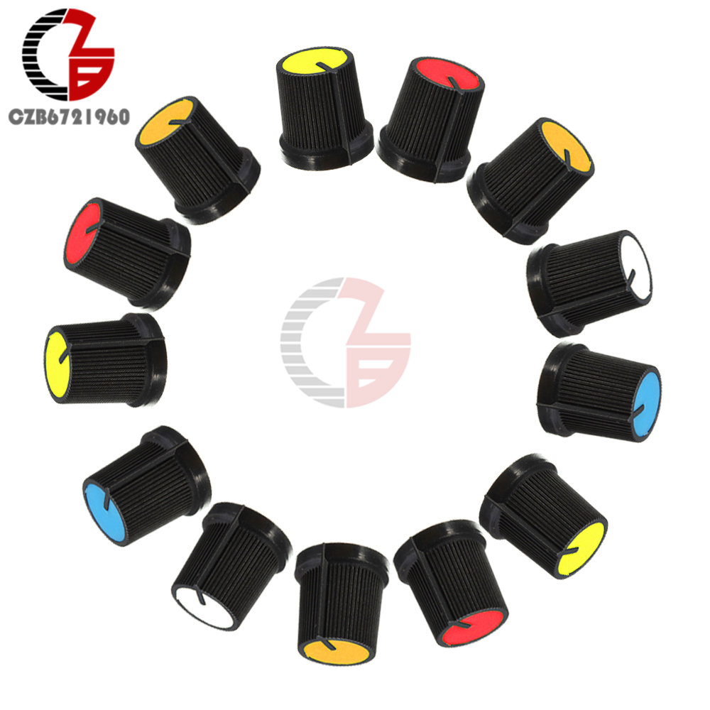 10Pcs WH148 Potentiometer Knob Cap 15X17mm 6mm Shaft Hole AG3 Yellow Orange Blue White Red Switch Cap