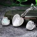 Projeto meninas mulheres jóias de moda colar de pingente de coração e brinco Studs aço inoxidável presente cadeia