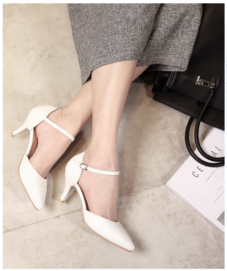 YALNN Spring Summer Basic Women Pumps Shoes Shallow Buckle Strap Thin Heels Pointed Toe for Leisure Office Career Shoes Women 10